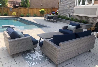 Dowson Loop, Newmarket  Fiberglass Pool and Landscape Project. 30 Ultimate with Hot Spa , Graphite Grey