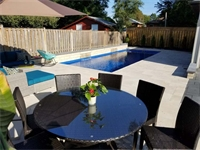 Exbury Cres, Mississauga , Ontario . RELEFCTION 33 Sapphire Blue Fiberglass Swimming Pool and Full Landscape Project