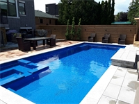 Haddington Ave, North York Fiberglass Leisure Pool 35 ULTIMATE ( Sapphire Blue)  and a unique Landscaped Backyard  Project