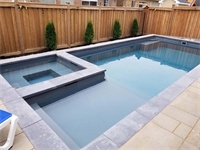 Iribelle Ave, Oshawa Fiberglass Pool and Landscape Project Limitless 30 Graphite Grey with HOT SPA. LIMITED SPACE : WE HAVE THE POOL